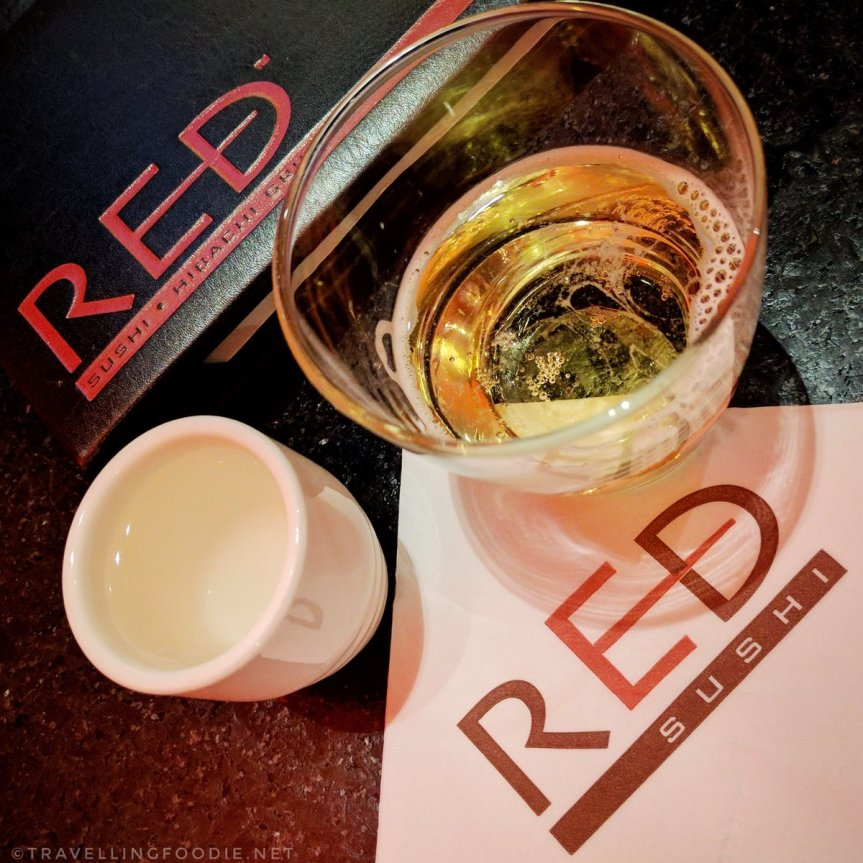 Travelling Foodie Drinks Sake Bomb at Red Sushi in Golden Nugget Las Vegas